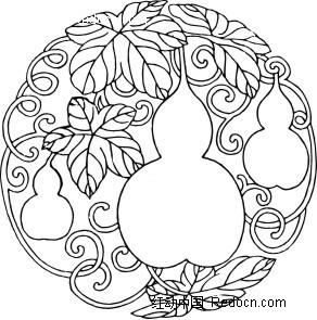花纹边框 花纹花边 中国古典图案-葫芦叶子和卷曲的藤蔓构成的圆形