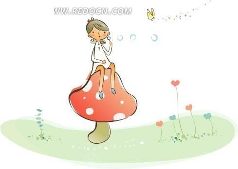 手绘坐在蘑菇上吹泡泡的女孩