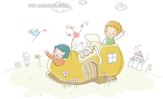 免费素材 矢量素材 矢量人物 卡通形象 鞋子屋里可爱的两个小朋友
