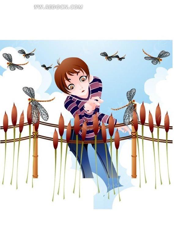 捉蜻蜓的小男孩 捉蜻蜓 小男孩 蜻蜓 男孩 小朋友 麦穗 卡通 插画
