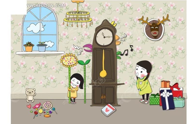 免费素材 矢量素材 矢量人物 卡通形象 > 房间里大钟旁玩耍的孩子们
