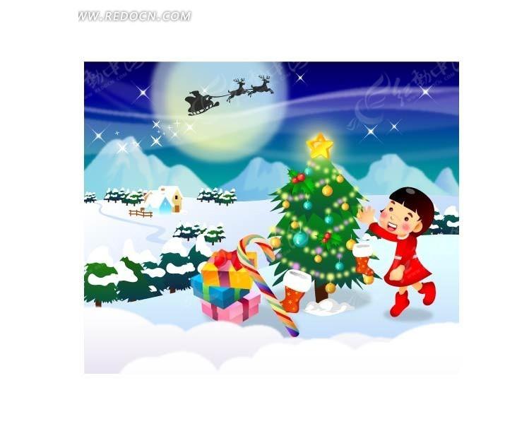 红色喜庆圣诞节场景_卡通形象_红动手机版