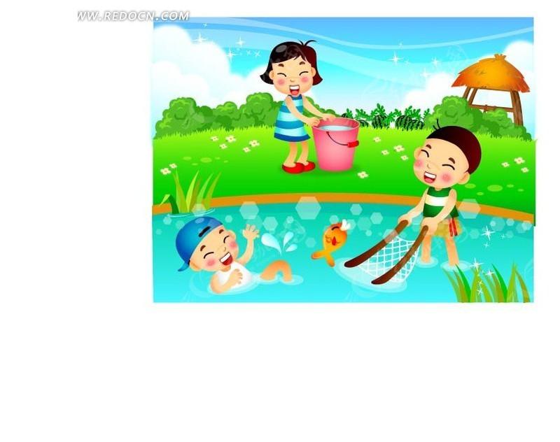 老鹰捉小鸡儿童插画 卡通图片 玩积木儿童插画 过家家psd儿童插画