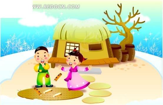 手绘韩国卡通人物插画