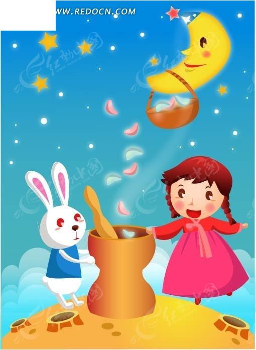 手绘兔子和小女孩卡通形象图片