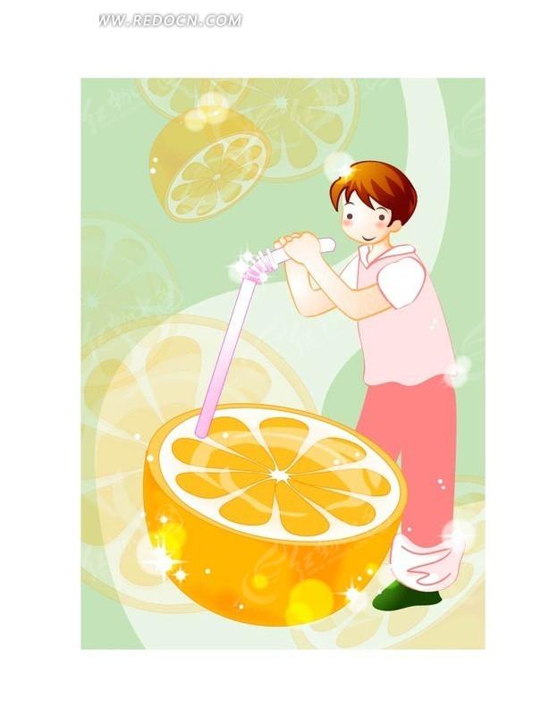 手绘吸管插进橙子的男孩ai免费下载_卡通形象素材