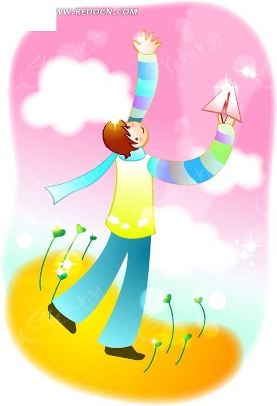 纸飞机 小男孩 云朵 卡通人物