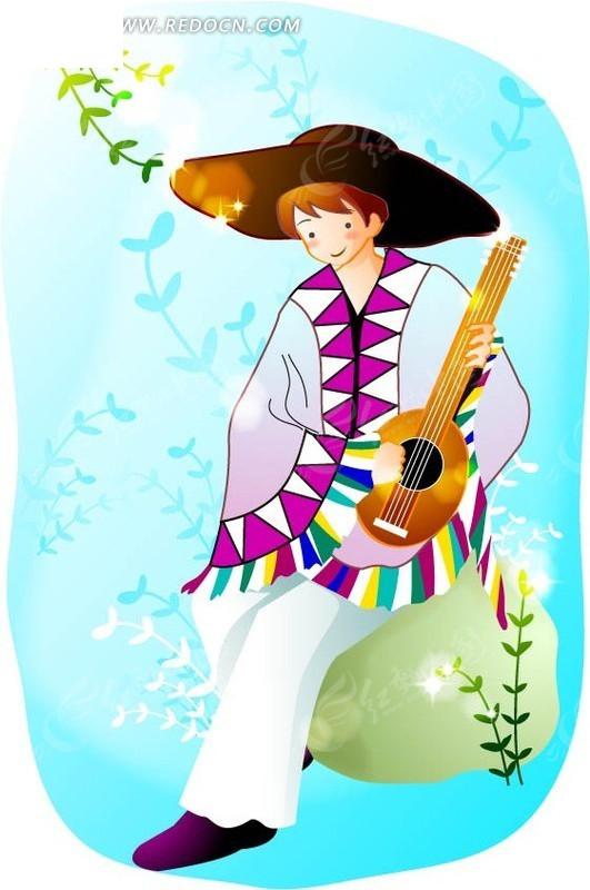 树叶背景坐在石头上戴帽子弹吉他的小王子卡通矢量图