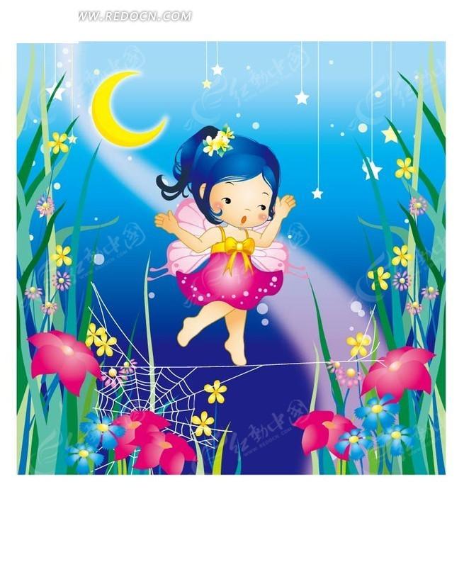 星空下可爱的小精灵和花朵ai免费下载_卡通形象素材