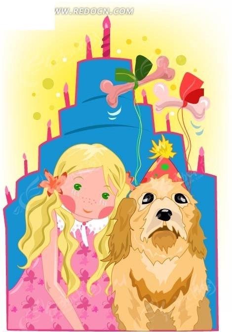 手绘小女孩和过生日的小狗