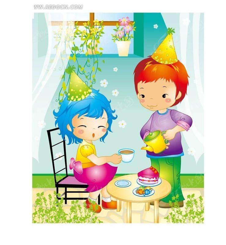 免费素材 矢量素材 矢量人物 卡通形象 手绘端茶倒水的甜蜜情侣