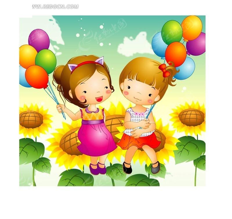 坐在向日葵上拿着彩色气球的两个小女孩图片