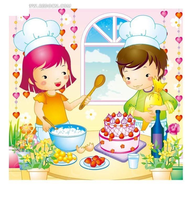 正在做蛋糕的小女孩与小男孩