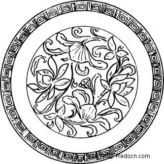 圆形中国传统荷花图图片