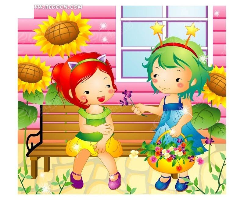可爱的两个小女孩和花朵
