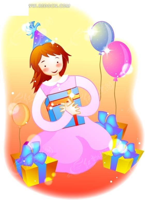 卡通收到礼物开心的小女孩