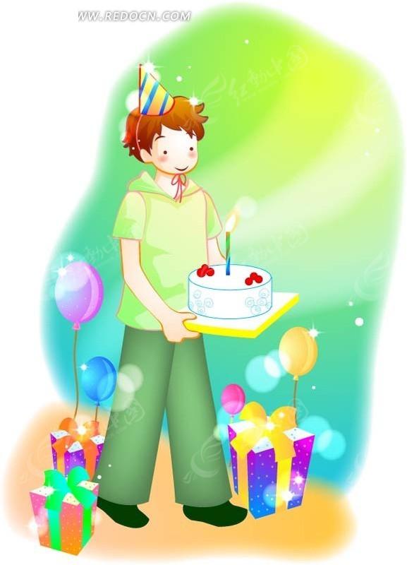 免费素材 矢量素材 矢量人物 卡通形象 卡通端着蛋糕的男孩