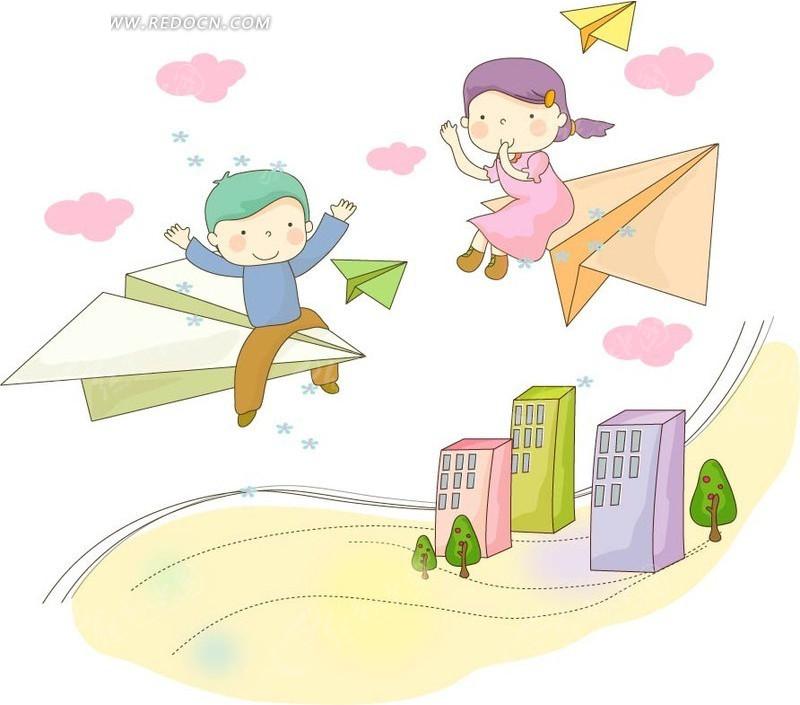 坐在纸飞机上可爱的小男孩小女孩 卡通人物矢量图下载
