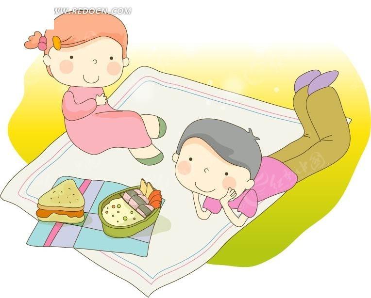 手绘野餐的两个小朋友