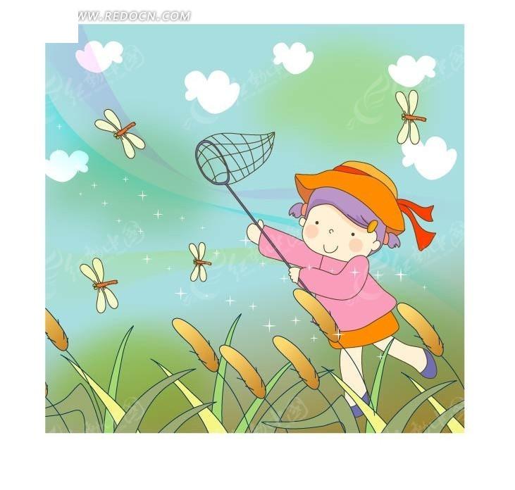 蜻蜓 芦苇 小女孩 可爱 卡通人物 卡通 绘画 插画 矢量素材 卡通人物