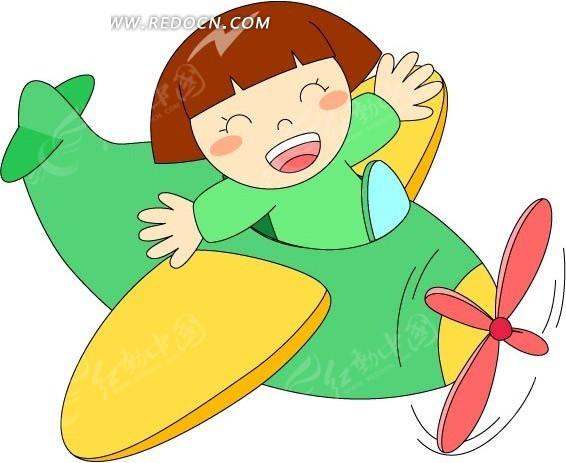 绿色飞机上开心的小女孩矢量图免费下载