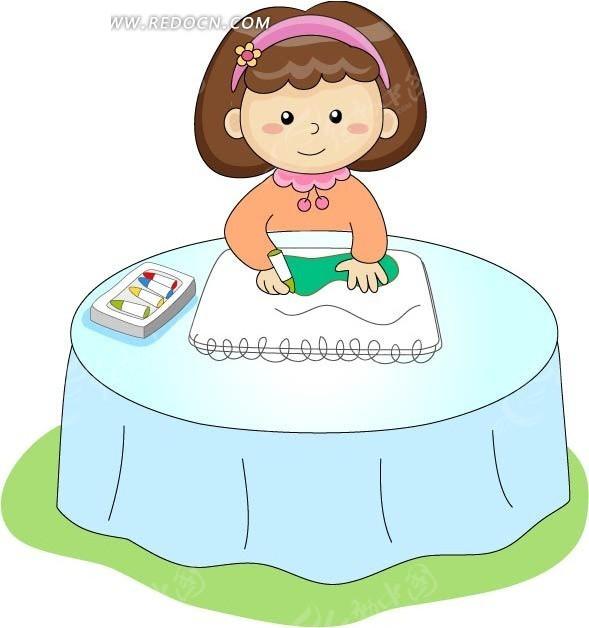 卡通画画的可爱小女孩矢量图