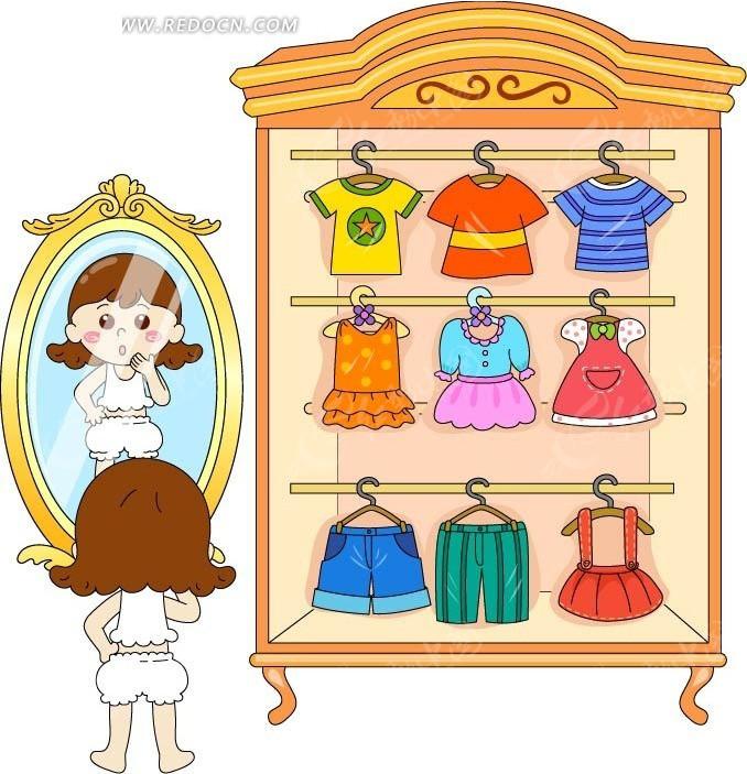 大衣柜和照镜子的小女孩 卡通人物矢量图下载