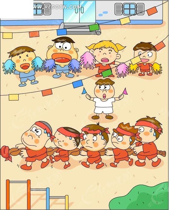 幼儿园拔河比赛图片