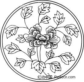 圆形中国传统牡丹花简笔画图片