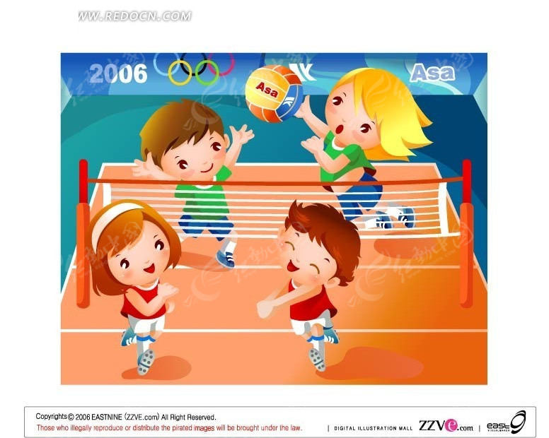 排球比赛的四个小朋友矢量图 卡通形象 -排球比赛的四个小朋友