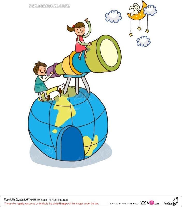 在地球仪上用天文望远镜的孩子矢量图
