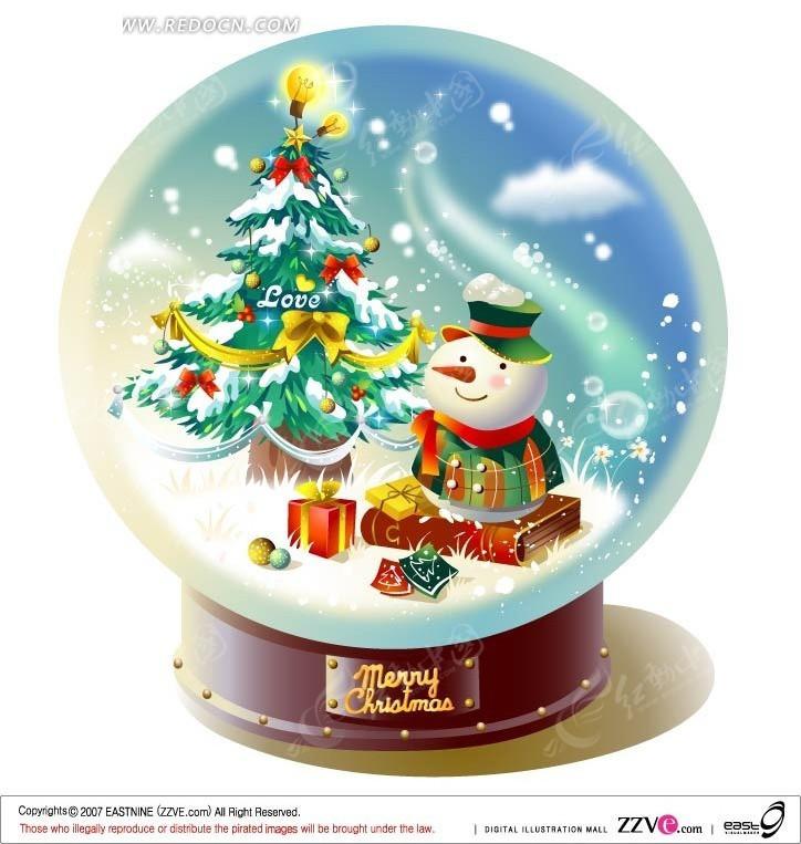 手绘水晶球的松树和雪人