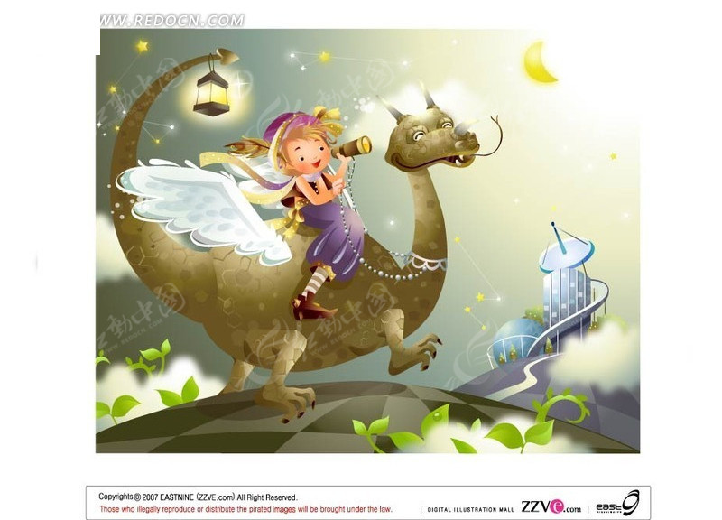 骑着飞龙的探险女孩矢量图_卡通形象