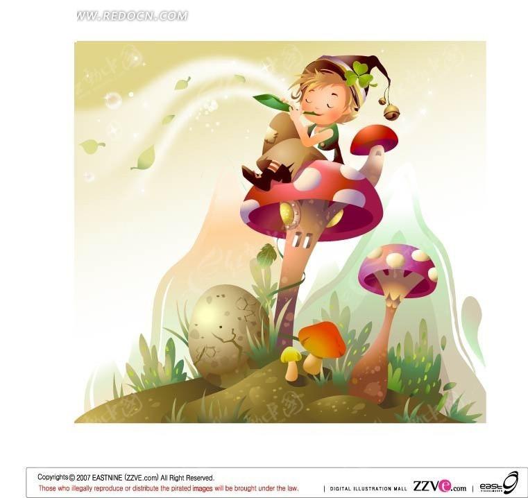 可爱蘑菇上吹笛子的小男孩矢量图_卡通形象