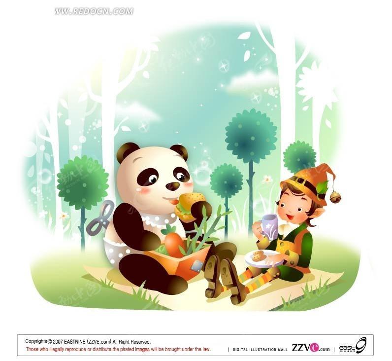 户外 熊猫 野餐 男孩 手绘 卡通人物 卡通人物图片 漫画人物 人物素材