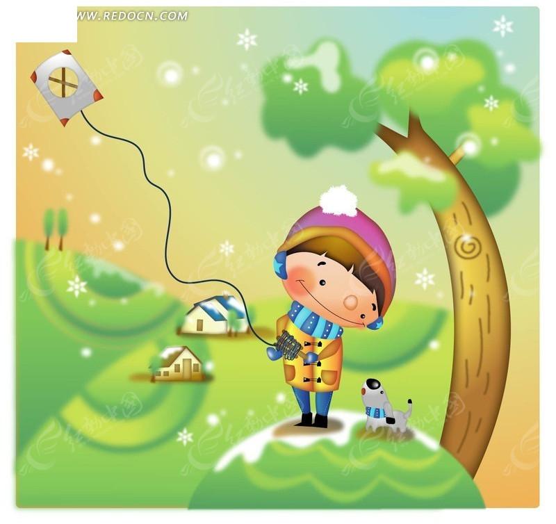 地 房子 树 风筝 卡通 漫画 绘画 插画 矢量素材 卡通人物 卡通人物图片图片
