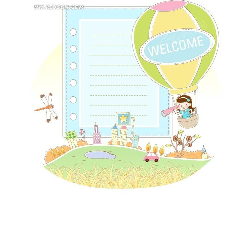 热气球探险女孩信纸矢量图_卡通形象