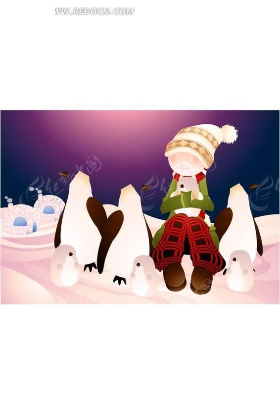 卡通可爱的小女孩和小企鹅