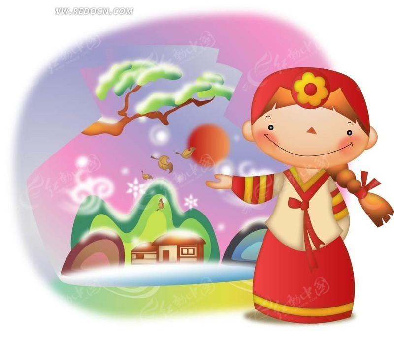 穿着韩国衣服的小女孩ai免费下载_卡通形象素材