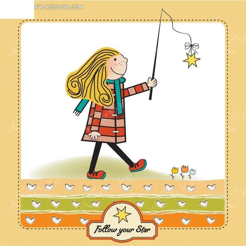 手绘可爱背景的卡通小女孩