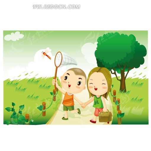 捉蜻蜓的小男孩_卡通形象_红动手机版