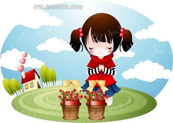 两篮鲜花 蝴蝶结 小女孩 房子 树木 蓝天 白云 祈祷 卡通人物 漫画 绘