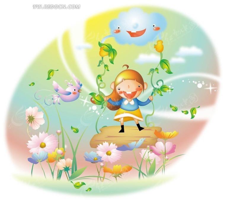 吹着笛子的小女孩和可爱的松鼠_卡通形象_红动手机版