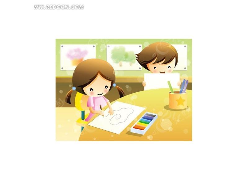 上美术课的小朋友矢量图 卡通形象