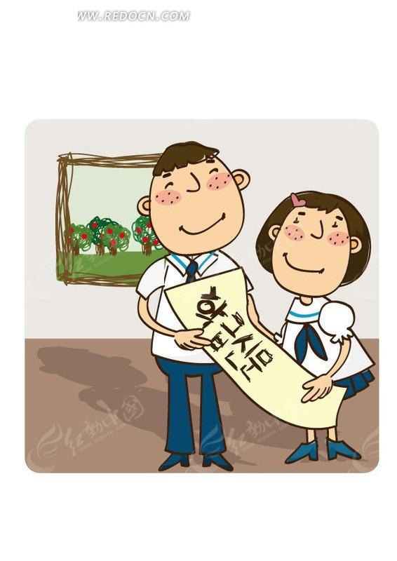 小女孩 小男孩 壁画  大楼 卡通 动漫 插画 手绘 矢量素材 卡通人物