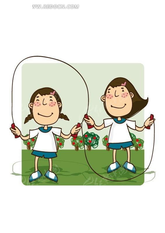 跳绳的两个小女孩矢量图_卡通形象