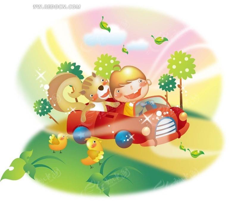 坐在跑车上的小男孩和松鼠高清图片