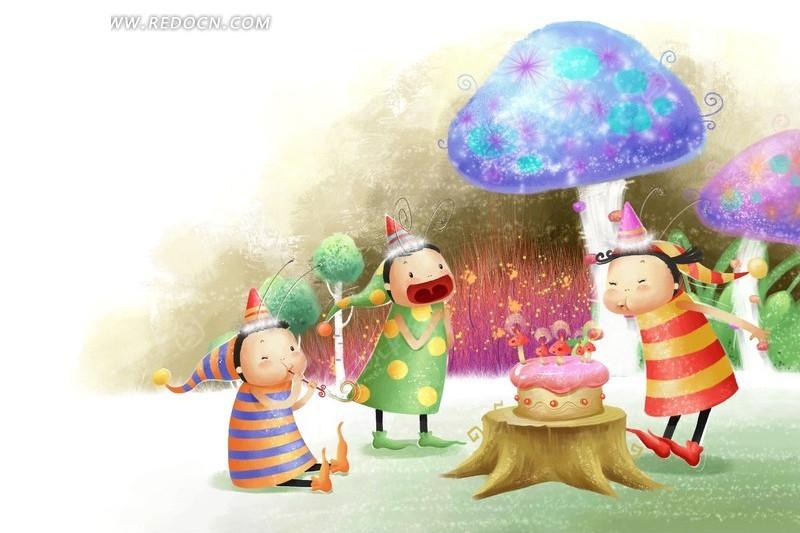 在野外庆祝生日的卡通小人物
