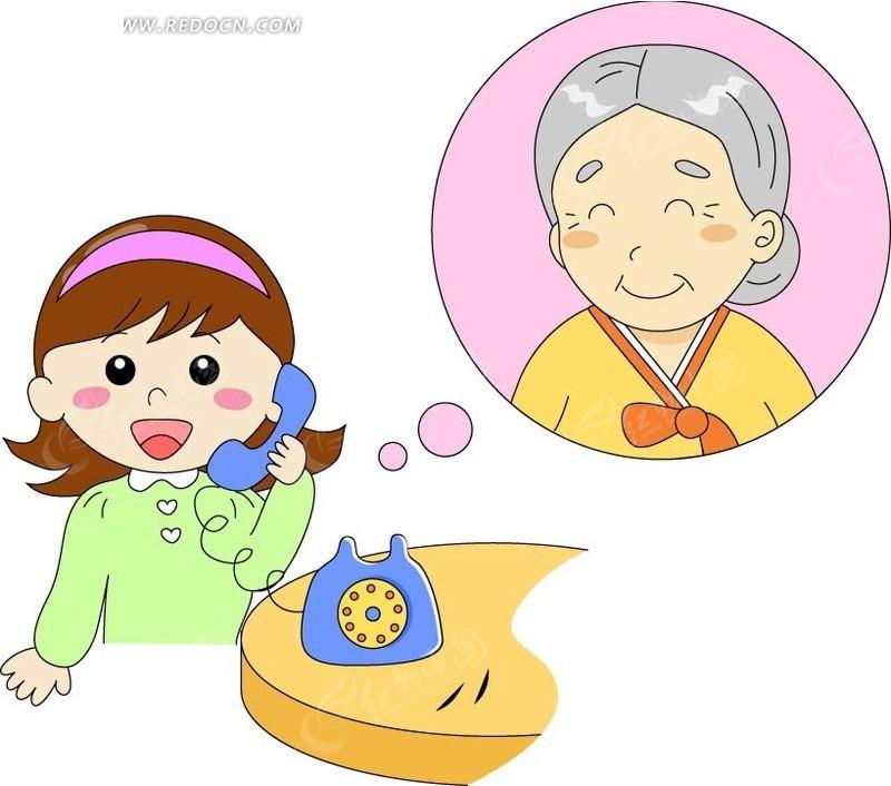 给奶奶打的小女孩矢量图