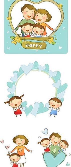 快乐的小女孩手绘插画